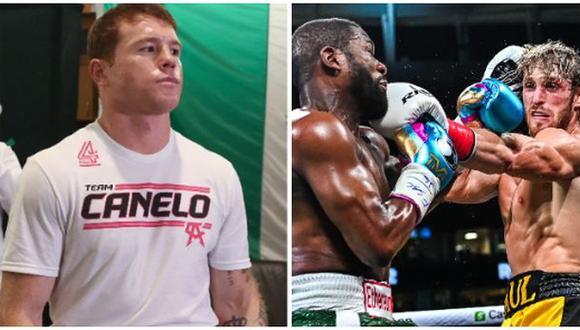 La reacción de 'Canelo' Álvarez tras la pelea de Floyd Mayweather contra Logan Paul. (Foto: AFP)