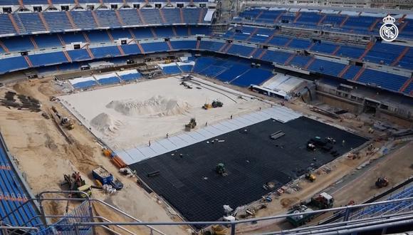 Los trabajos de remodelación en el Santiago Bernabéu continúan. (Captura)