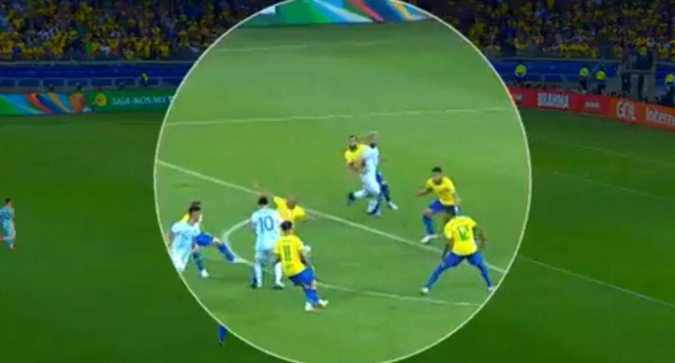 Brasil vs. Argentina Copa América 2019: falta sobre el Agüero que terminó en gol de Brasil. (FIFA TV)