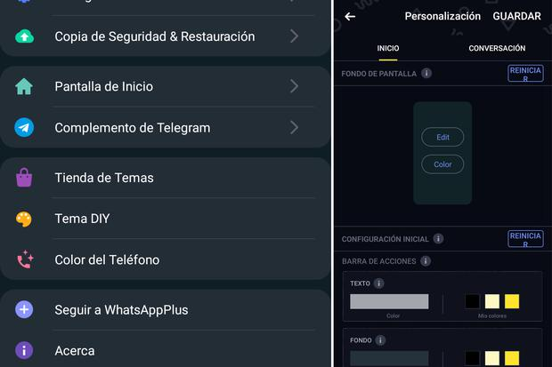 This way you can access the options to change the WhatsApp Plus color.  (Photo: MAG)