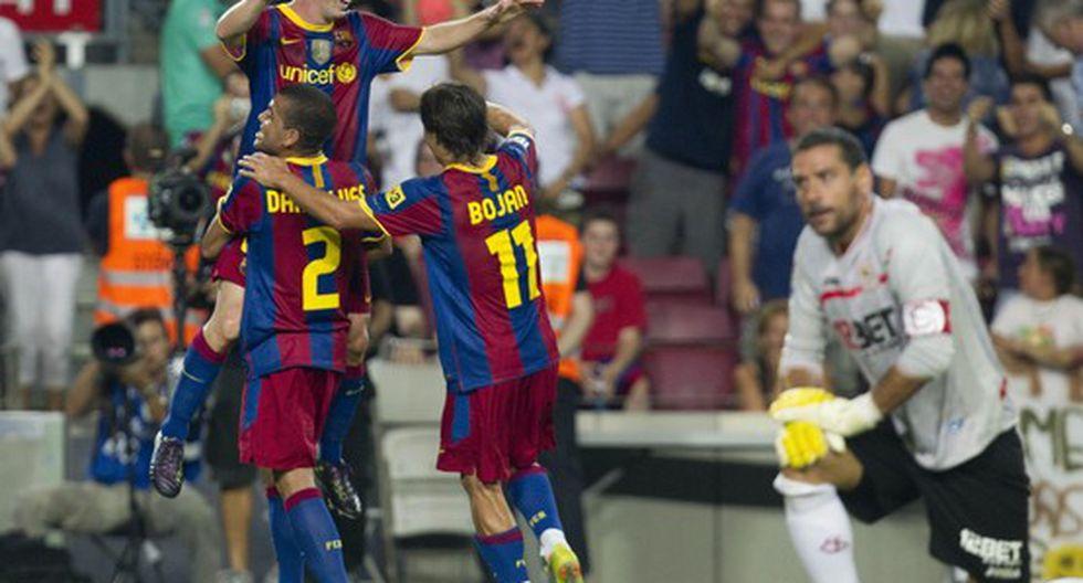 Barcelona vence 4-0 a Sevilla en la Supercopa de España 2010 con tres goles de Messi. (Foto: AFP)