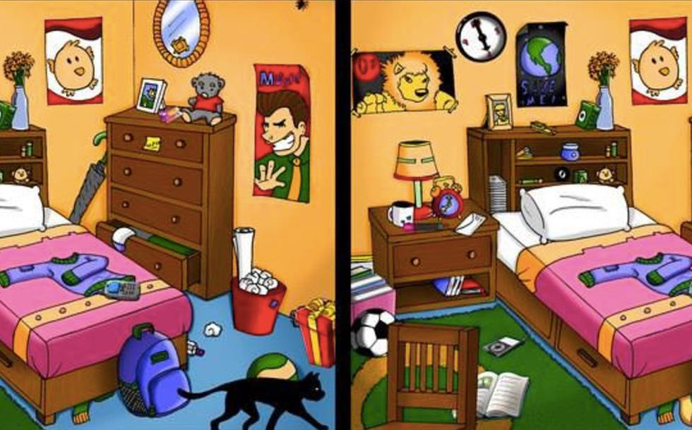Ubica las siete diferencias entre las dos imágenes de la habitación desordenada. (Mamá psicóloga infantil)