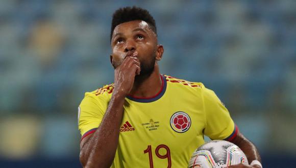Miguel Borja es el máximo anotador de la Selección Colombia en estas Eliminatorias con tres tantos. (Foto: AFP)
