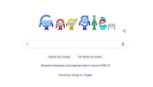 Google recomendó el uso del tapabocas con un doodle que llama a la vacunación y a respetar las medidas sanitarias (Foto: Captura/Google)