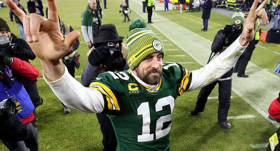 Aaron Rodgers celebrando la victoria de los Packers. (Foto: Getty Images)