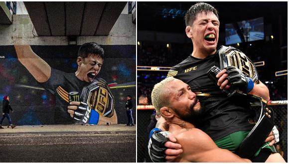 El mural en honor a Brandon Moreno tras ser el primer campeón mexicano de UFC. (@mode_awc)/ UFC)