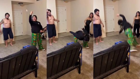 Un video viral muestra cómo una joven pasó un mal rato al demostrar sus dotes como gimnasta frustrada.   Crédito: @wild_rubez / TikTok.