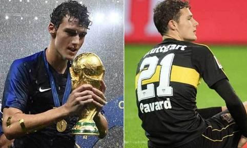 Benjamin Pavard descendió con Stuttgart en la Bundesliga, a menos de un año de ganar el Mundial con Francia. (Getty Images)