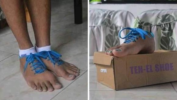 Estas son las llamativas zapatillas. (Foto: @ordurebizarree | Twitter)