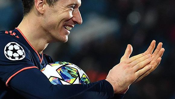 Robert Lewandowski anotó cuatro goles ante Estrella Roja en la quinta fecha de la Champions League. (AFP)