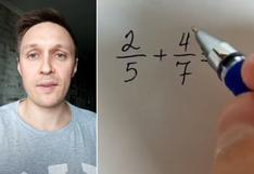 El asombroso truco de un profesor para sumar fracciones con facilidad y que causa furor en redes sociales