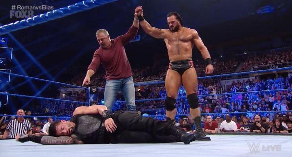 Roman Reigns venció a Elias, pero al final sufrió un Claymore de Drew McIntyre. (WWE)
