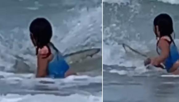 Una madre grabó el momento en que su hija se encontró con un tiburón. (Foto: KITV4 / Facebook)