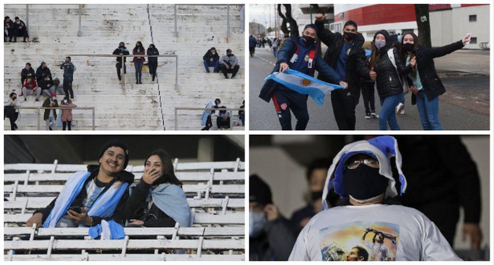 Los hinchas ya se hacen presentes en el Estadio Monumental de Buenos Aires. (Foto: AFP)