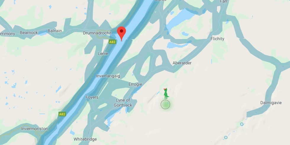 When you move the doll from Google Maps, it will transform into the Loch Ness monster. (Photo: Google)