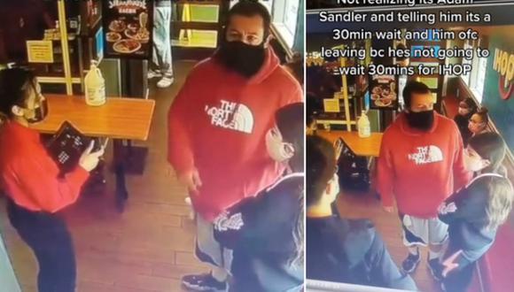 Adam Sandler reaccionó al video viral de la joven que lo atendió en un restaurante sin reconocerlo. (Foto: @dayanna.rodas / TikTok)