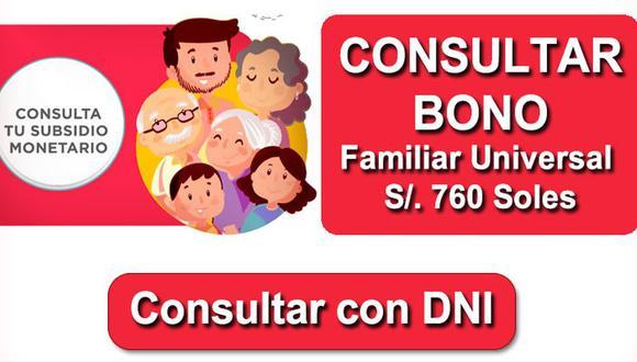 Bono Familiar Universal   Consulta aquí con tu DNI. (Fuente: Internet)