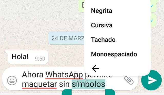 En los iPhone es más fácil usar este nuevo estilo de fuente con solo pulsar dos segundos el texto seleccionado. (Foto: WhatsApp)