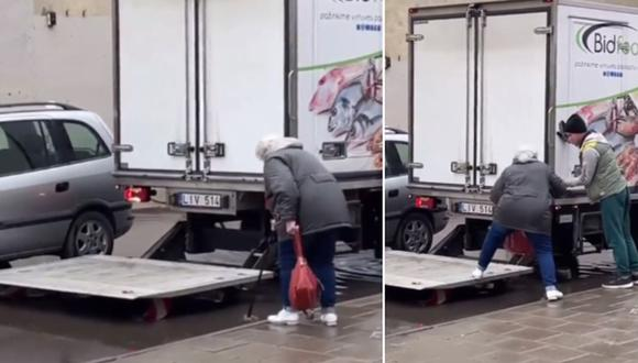 Un conductor de camión tuvo un conmovedor gesto con una anciana que no podía cruzar un gran charco. (Foto: @tommyxblake / TikTok)