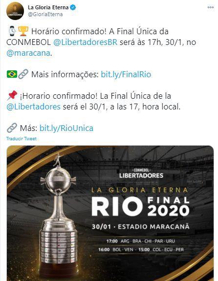 Conmebol confirmó el horario de la final de la Copa Libertadores 2020.