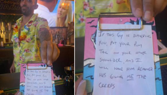 Barman aplica un truco para ayudar a dos jóvenes que estaban siendo acosadas por un hombre. (Foto: @trinityallie / Twitter)