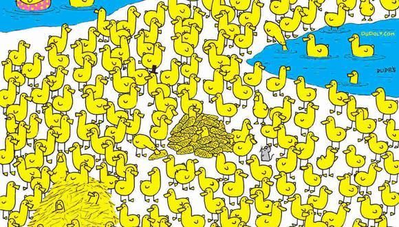Observa bien la imagen. Hay un pollito entre los patos y tienes que ubicarlo. (Foto: dudolf.com)
