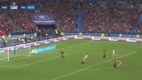 Neymar marcó el 2-0 de PSG ante Rennes en la final de Copa de Francia. (AFP)