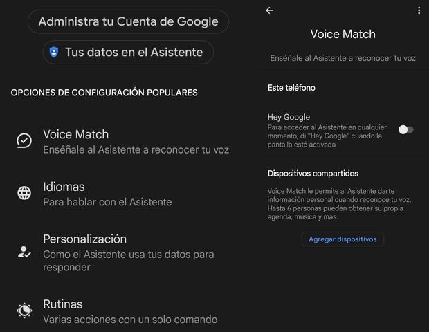 "Voice Match y activar ""Hey Google"" (Foto: Mag)"