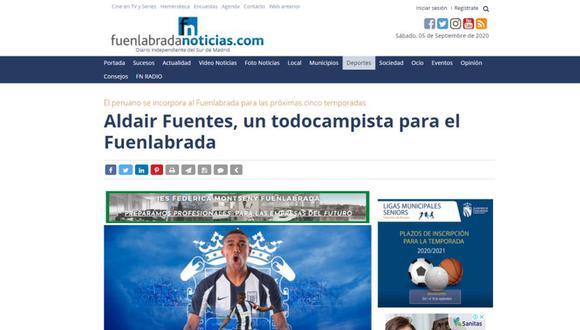 Reacción de prensa española tras fichaje de Fuentes por Fuenlabrada. (Captura)