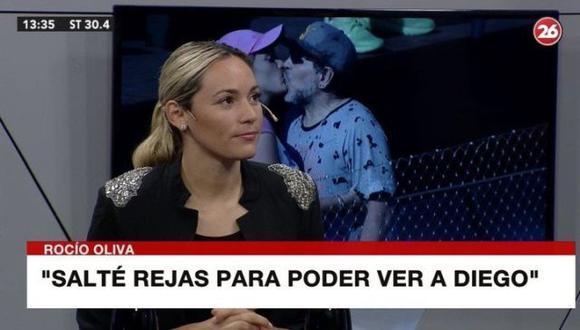 """La última pareja oficial del Diego, Rocío Oliva con lágrimas en los ojos, dejó la frase: """"Murió solo, abandonado, triste"""". (Fuente: Canal 26)"""