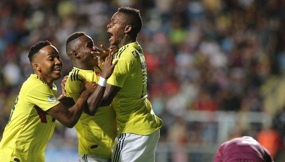 En el Teniente de Racangua, Colombia se impuso por 2-0 con goles de Reyes a los 27' y Angulo (57') ante la decepcionante selección de Venezuela. (Foto: AFP)