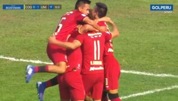 Guarderas anotó el primero en el Universitario vs. Coopsol (Captura)