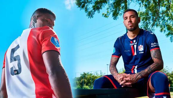 Miguel Araujo y Sergio Peña posaron con las nuevas camisetas de FC Emmen. (Foto: Twitter)
