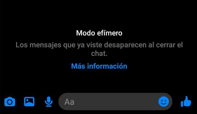 """Así se activa el """"modo efímero"""" en Facebook Messenger. (Foto: Mag)"""