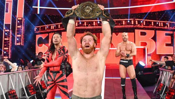 Sami celebrando su victoria en Elimination Chamber 2020. (Foto: WWE)