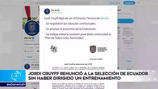 Jordi Cruyff dejó de ser técnico de la selección de Ecuador