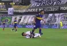 Criminal: el pisotón de Frank Fabra en el estómago de Marinho que le costó la expulsión en el Boca vs. Santos [VIDEO]