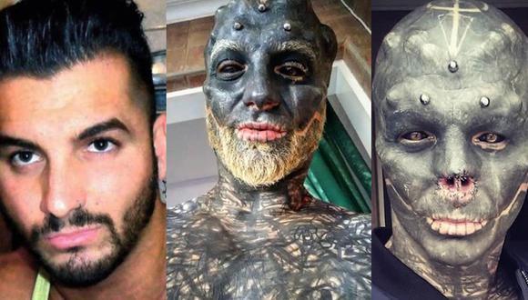 Anthony Loffredo lleva aproximadamente 6 años sometiéndose a cirugías y tatuajes. Su última operación: se quitó la nariz y todo su cuerpo está a un 18% del total de su transformación.  | Foto: The Black Alien Project