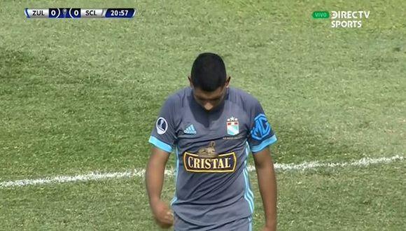 Cristian Palacios estuvo cerca de marcar un golazo ante Zulia FC. (Captura)