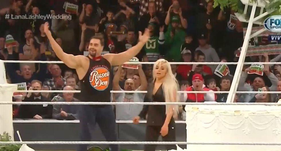 Rusev y Liv Morgan se encargaron de que Lana y Bobby Lashley no se casen. (Foto: WWE)