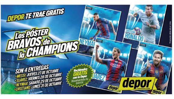 Depor te trae gratis los póster de los bravos de la Champions League.