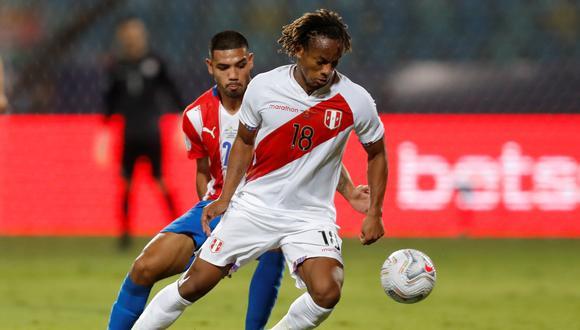 André Carrillo cumplió su sanción y estará para la pelea por el tercer lugar de la Copa América 2021. (Foto: EFE/ Fernando Bizerra Jr)