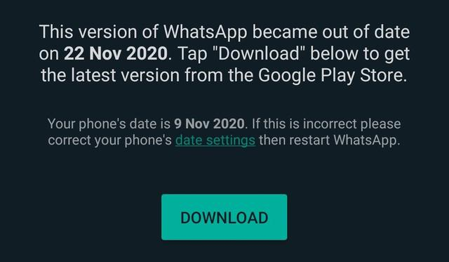 If you download WhatsApp Plus v9.00, you will see this update message.  (Photo: MAG)