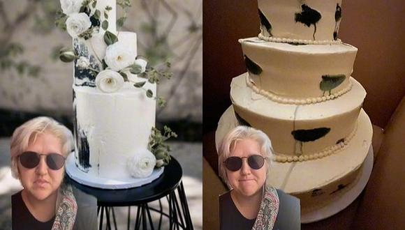 La torta que la pastelería les entregó no se parecía en nada al original. El video se volvió viral. (Foto: @agwright1231 TikTok)