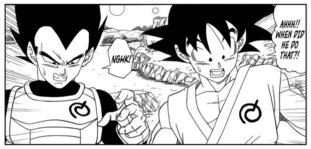Goku and Vegeta with the symbol of Whis (Photo: Shueisha)