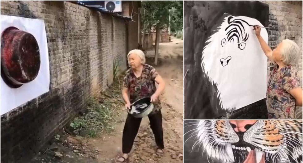 Arte: anciana pintó un tigre con una tina y la imagen final es furor en redes sociales. (Foto: Captura/TikTok)