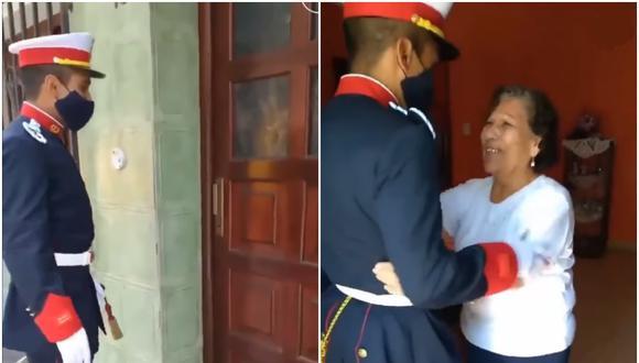 La emoción de una abuela al ver a su nieto vestido con uniforme militar. (Foto: @Rey_Reich)