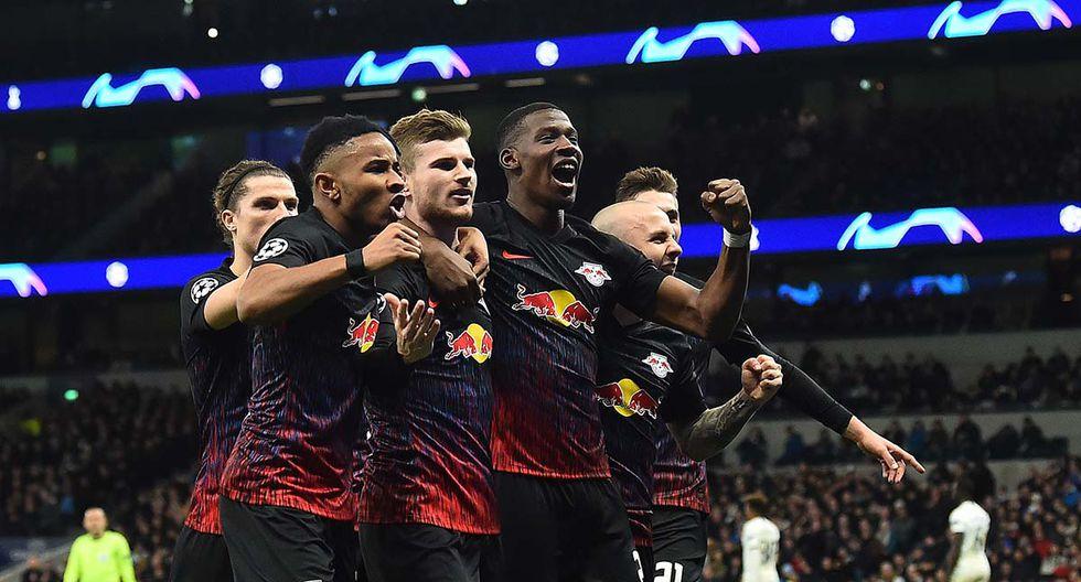 Tottenham Hotspur vs. Leipzig: Timo Werner abrió el marcador y celebró junto a su hinchada. | Foto: AFP