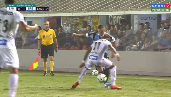 Everton regaló una genial 'huacha' en el Gremio vs. Santos. (SporTV)
