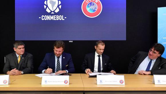 La reunión en Nyon entre la UEFA y Conmebol. (@UEFA)